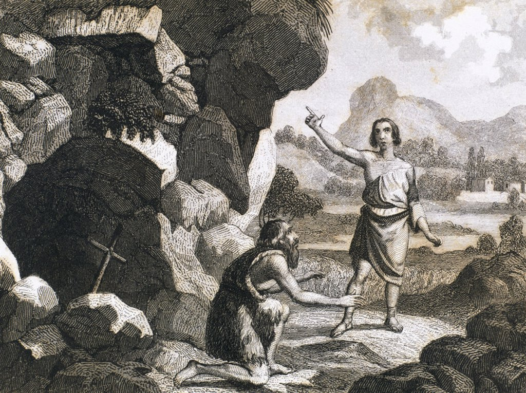 Stock Photo: 4409-47838 The hermit saint Saturius of Soria, kneeling, receives the visit of the also hermit  Prudentius of Armentia, future Bishop of Tarazona. Sixth century. Nineteenth century engraving.