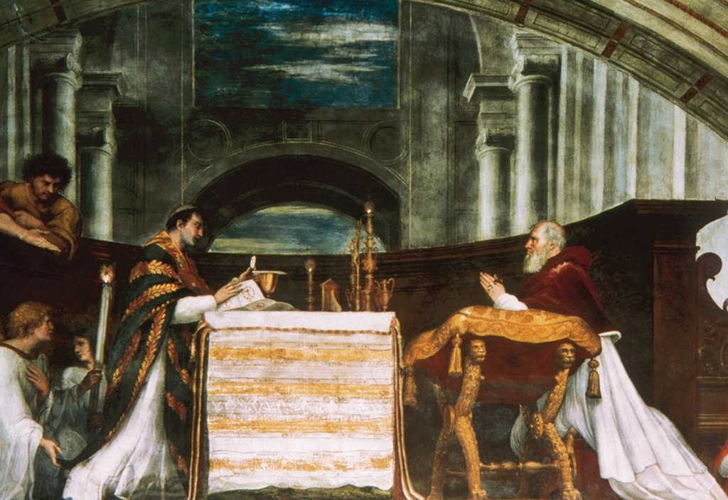 Stock Photo: 4409-47874 Raphael (1483-1520). Italian painter and architect of the High Renaissance. The Mass at Bolsena, 1512. Fresco. Raphael's Rooms. Room of Heliodorus. Apostolic Palace. Vatican City.