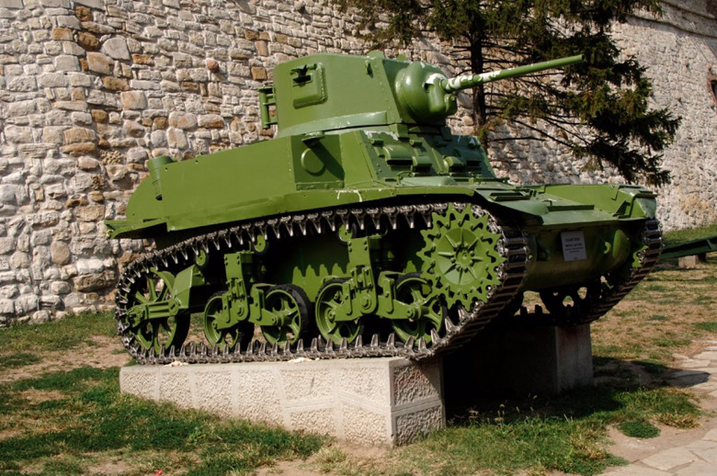 Stock Photo: 4409-47895 Tank exposed outside the Military Museum. American tank. Belgrade. Republic of Serbia.