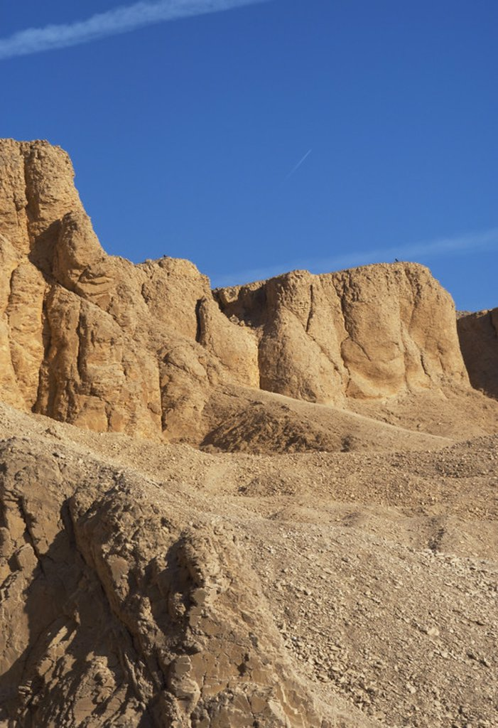 Stock Photo: 4409-47941 Valley of the Kings. On the walls are carved rock tombs of New Kingdom pharaohs.  Egypt.