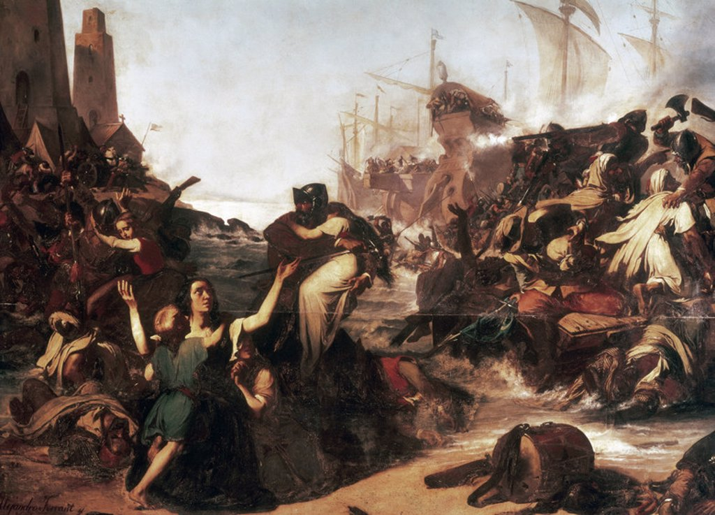 Action of weapons of Cadiz against the Moors in 1574. Barbary pirates on the  Torregorda beach. Oil on canvas by Alejandro Ferrant y Fischermans  (1843-1917). Museum of Fine Arts of Cadiz. Andalusia. Spain. : Stock Photo