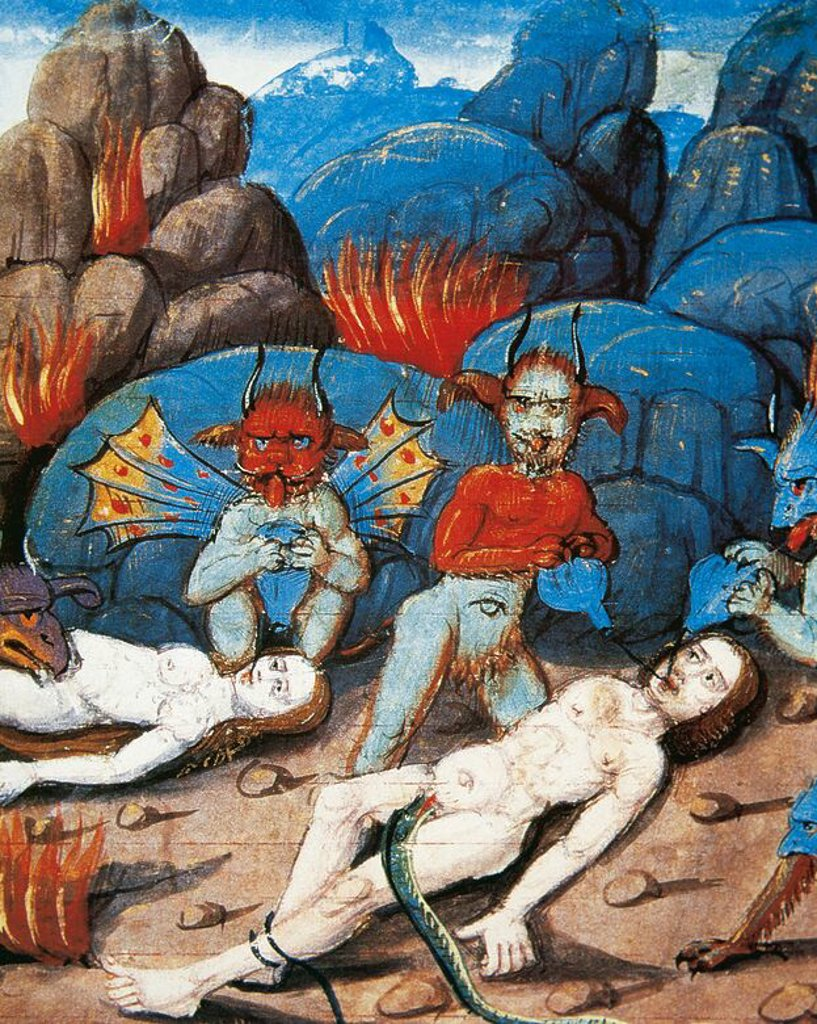 Torment of the damned. Miniature. 15th century. France. Tresor de Sapience. Castle of Chantilly. France. : Stock Photo