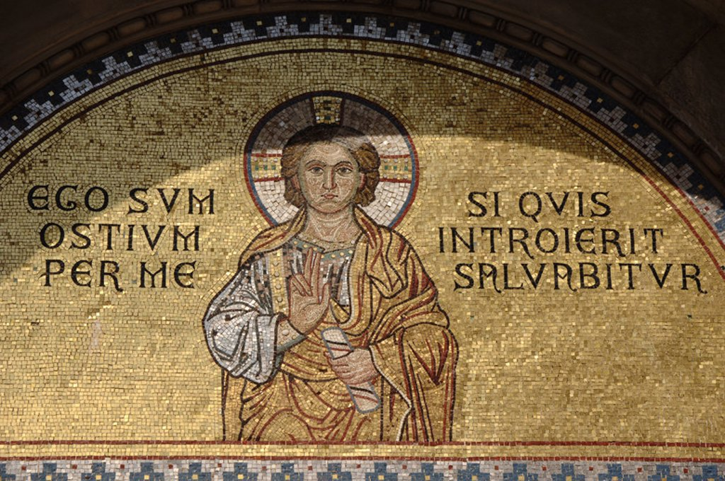 Stock Photo: 4409-48031 BYZANTINE ART. CROATIA. Euphrasian Basilica. Byzantine church built in the sixth century. World Heritage Site by UNESCO in 1997. Mosaic in the tympanum of the entrance to the temple. POREC. Istrian Peninsula.