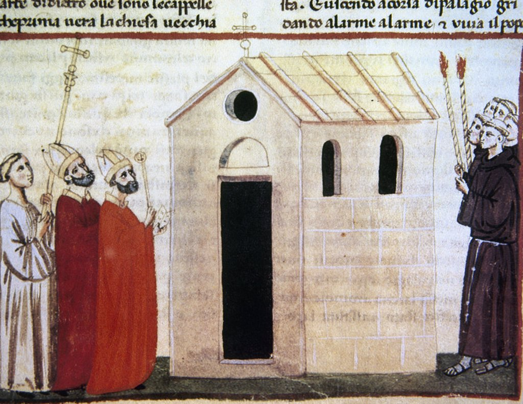 Stock Photo: 4409-48037 Giovanni Villani (ca. 1276 or 1280–1348). New Chronicles. Miniature depicting the foundation of the new church of Santa Croce. 14th Century. Fol. 155r. Vatican Library. Vatican City.