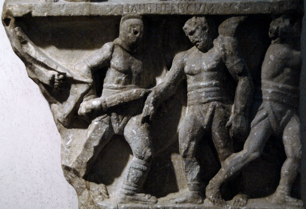 Roman art. Relief commemorating the victories of a gladiator represented in various struggles with its adversaries. 1st century B.C Found on Via Appia. Baths of Diocletian. National Roman Museum. Rome. Italy. : Stock Photo