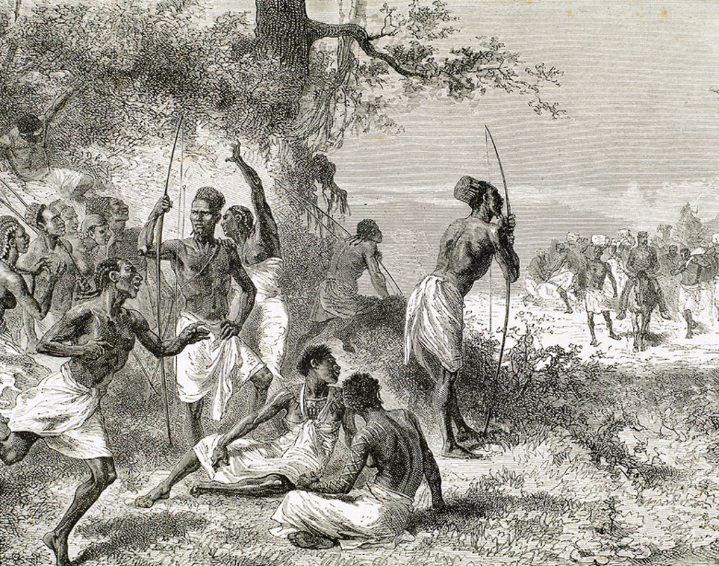 History of Africa. The caravan of Dr. Livingstone found a group of armed natives. Engraving by A. Beatrand. 1882. : Stock Photo