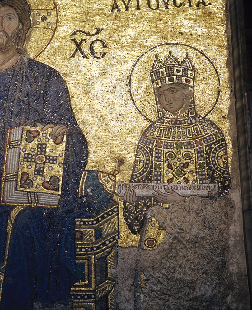 Stock Photo: 4409-48285 Zoe Porphyrogenita (978-1050). Byzantine empress. Mosaic of the South Gallery. Hagia Sophia. Istanbul. Turkey.