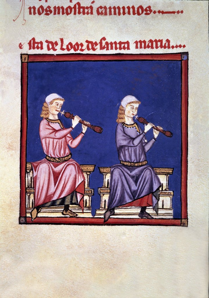 Spanish school. The Cantigas de Santa Maria (manuscript with music notations): Pastoral flute players. 13th century. Canticle n°390. Madrid, San Lorenzo de El Escorial library. Author: ALFONSO X OF CASTILE, THE WISE. Location: MONASTERIO-BIBLIOTECA-COLECCION, SAN LORENZO DEL ESCORIAL, MADRID, SPAIN. : Stock Photo