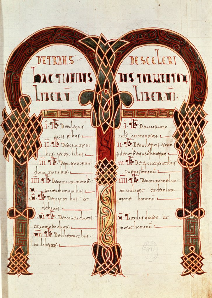 Code of Euric or Codex Euricianus. Fifth century. First written compilation of Visigothic law enacted by Euric, King of Spain, sometime before 480, probably at Toulouse (possible at Arles). National Library. Madrid. Spain. : Stock Photo