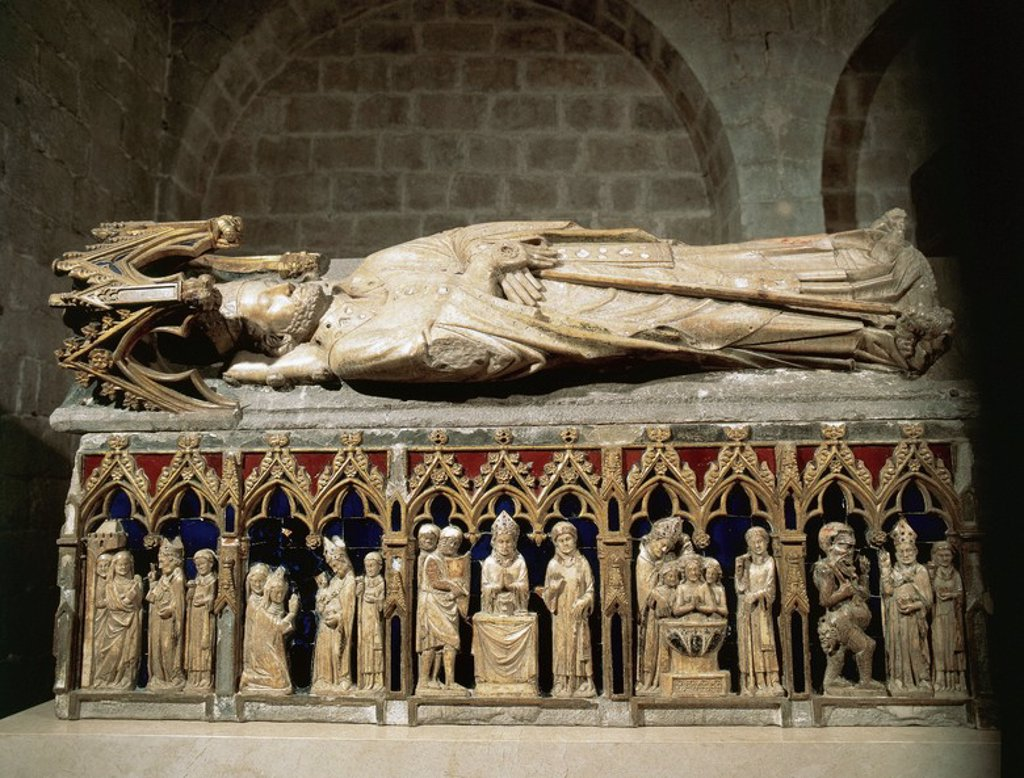 Gothic art. Spain. Tomb of St. Narcissus of Gerona by Juan de Tournai, XIV century French sculptor. Made in 1328. Church of Sant Feliu de Girona. Catalonia. : Stock Photo