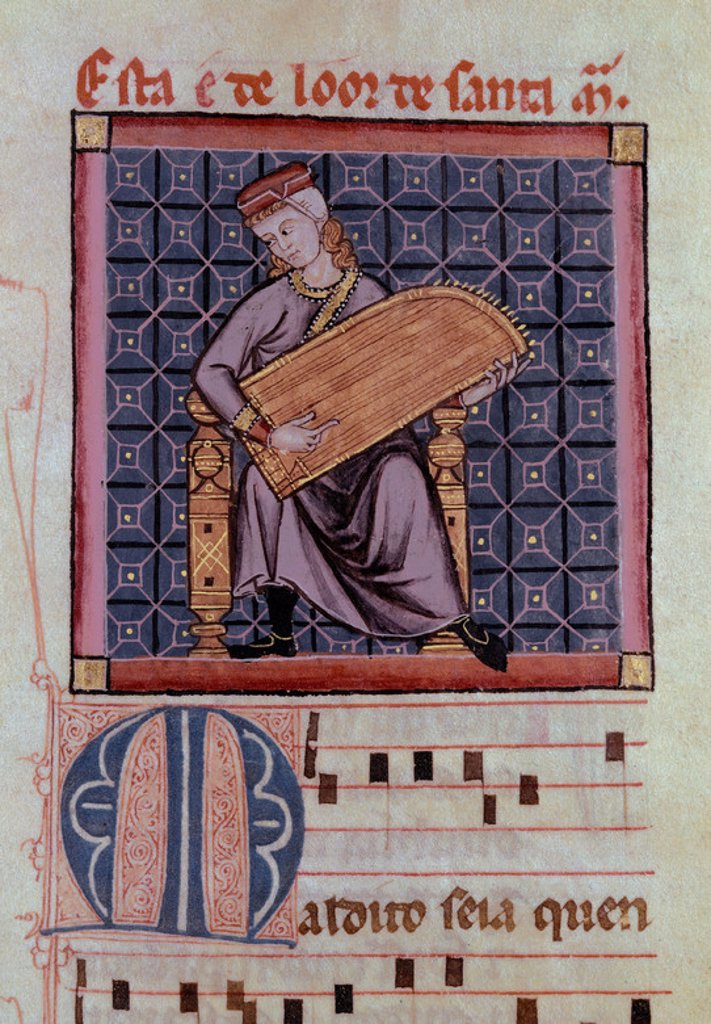 Stock Photo: 4409-4836 M.B.I.2-CANTIGA SANTA MARIA-Nº290-F260R- CODICE DE LOS MUSICOS-SALTERIO O CANON MODIFICADO. Author: ALFONSO X OF CASTILE, THE WISE. Location: MONASTERIO-BIBLIOTECA-COLECCION, SAN LORENZO DEL ESCORIAL, MADRID, SPAIN.