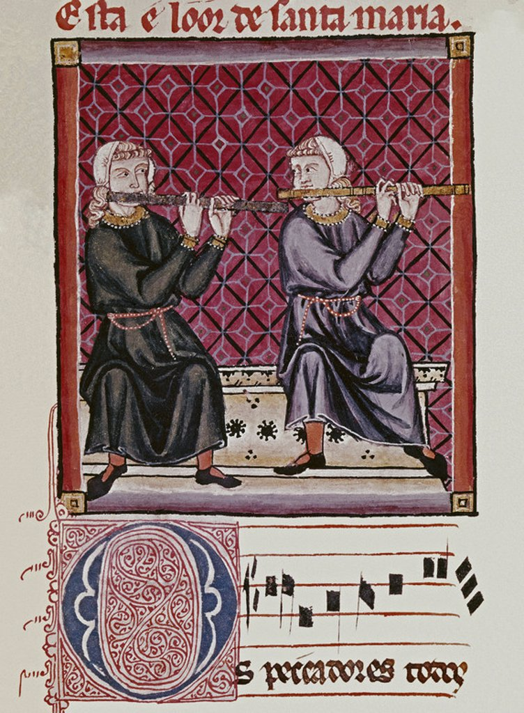 Stock Photo: 4409-4837 Spanish school. The Cantigas de Santa Maria (manuscript with music notations): Transverse flute players. 13th century. Canticle n°240, folio 228 V. Madrid, San Lorenzo de el Escorial library. Author: ALFONSO X OF CASTILE, THE WISE. Location: MONASTERIO-BIBLIOTECA-COLECCION, SAN LORENZO DEL ESCORIAL, MADRID, SPAIN.