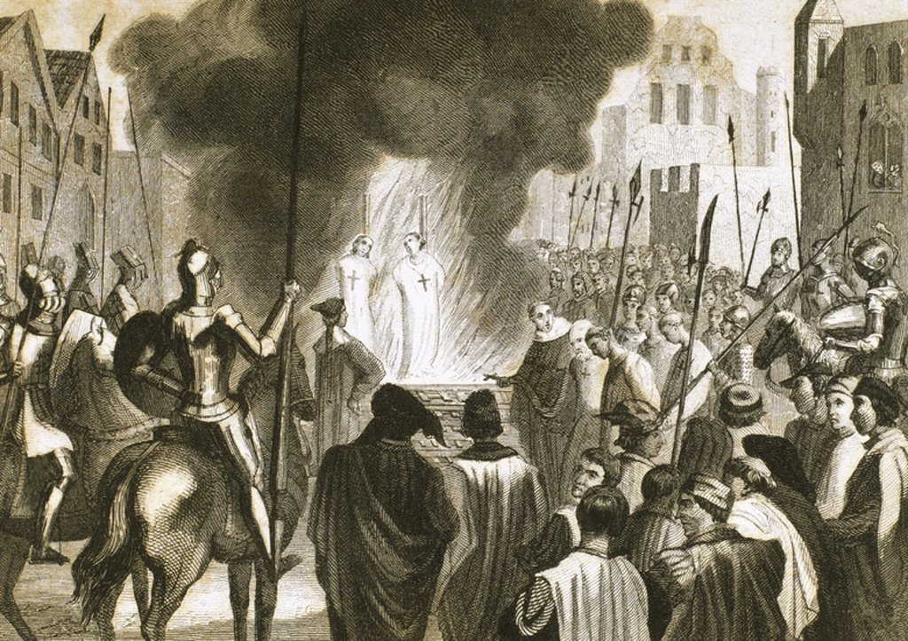 Stock Photo: 4409-48383 Burning Templar in the 14th century. Engraving of 1851.