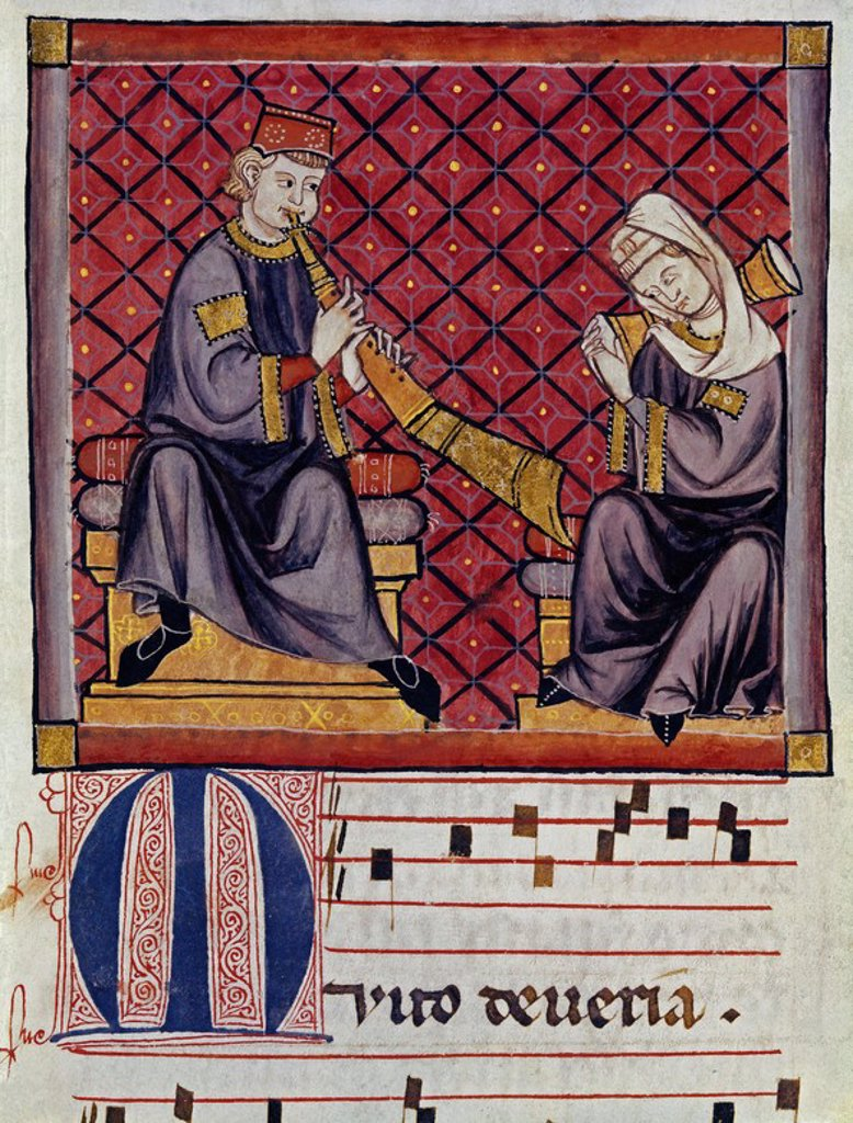 Spanish school. Cantigas de Santa Maria (manuscript with music notations): Albogon (or al-bûq) and tambourine players. 13th century. Canticle n°300, folio 368 V. Madrid, San Lorenzo de El Escorial library. Author: ALFONSO X OF CASTILE, THE WISE. Location: MONASTERIO-BIBLIOTECA-COLECCION, SAN LORENZO DEL ESCORIAL, MADRID, SPAIN. : Stock Photo