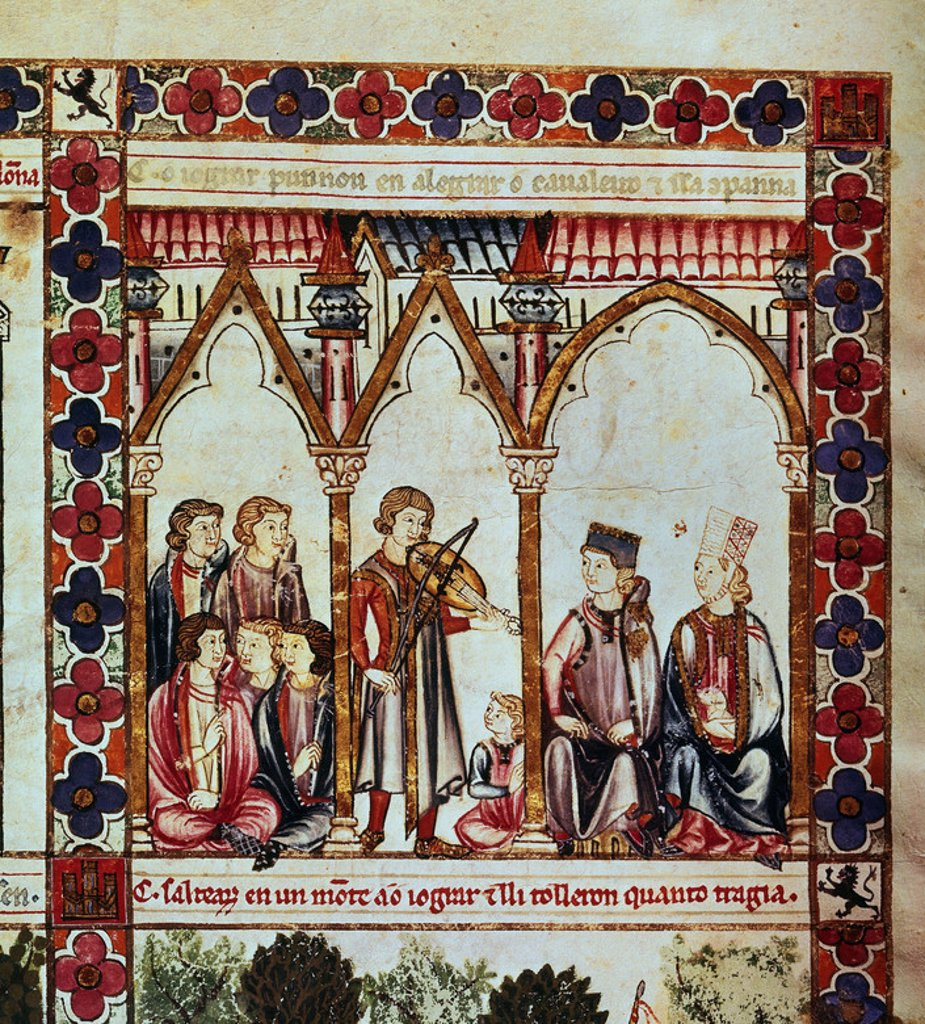 Stock Photo: 4409-4844 Spanish school. The Cantigas de Santa Maria (manuscript with music notations): Troubadour playing before a couple. 13th century. Canticle n°294, folio 255 V. Madrid, San Lorenzo de El Escorial library. Author: ALFONSO X OF CASTILE, THE WISE. Location: MONASTERIO-BIBLIOTECA-COLECCION, SAN LORENZO DEL ESCORIAL, MADRID, SPAIN.