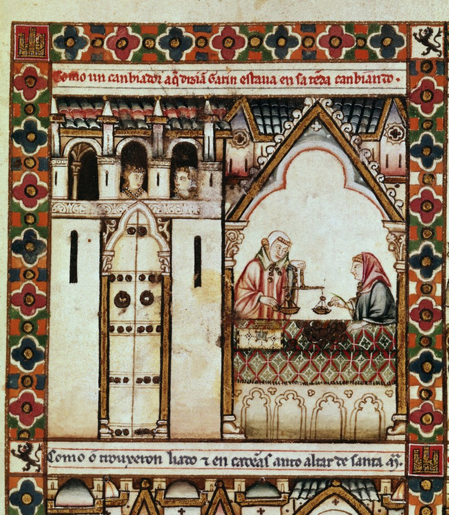 Spanish school. The Cantigas de Santa Maria (manuscript with music notations): A moneychanger negotiates in his shop. 13th century. Canticle n°41, folio 59 V. Madrid, San Lorenzo de El Escorial library. Author: ALFONSO X OF CASTILE, THE WISE. Location: MONASTERIO-BIBLIOTECA-COLECCION, SAN LORENZO DEL ESCORIAL, MADRID, SPAIN. : Stock Photo
