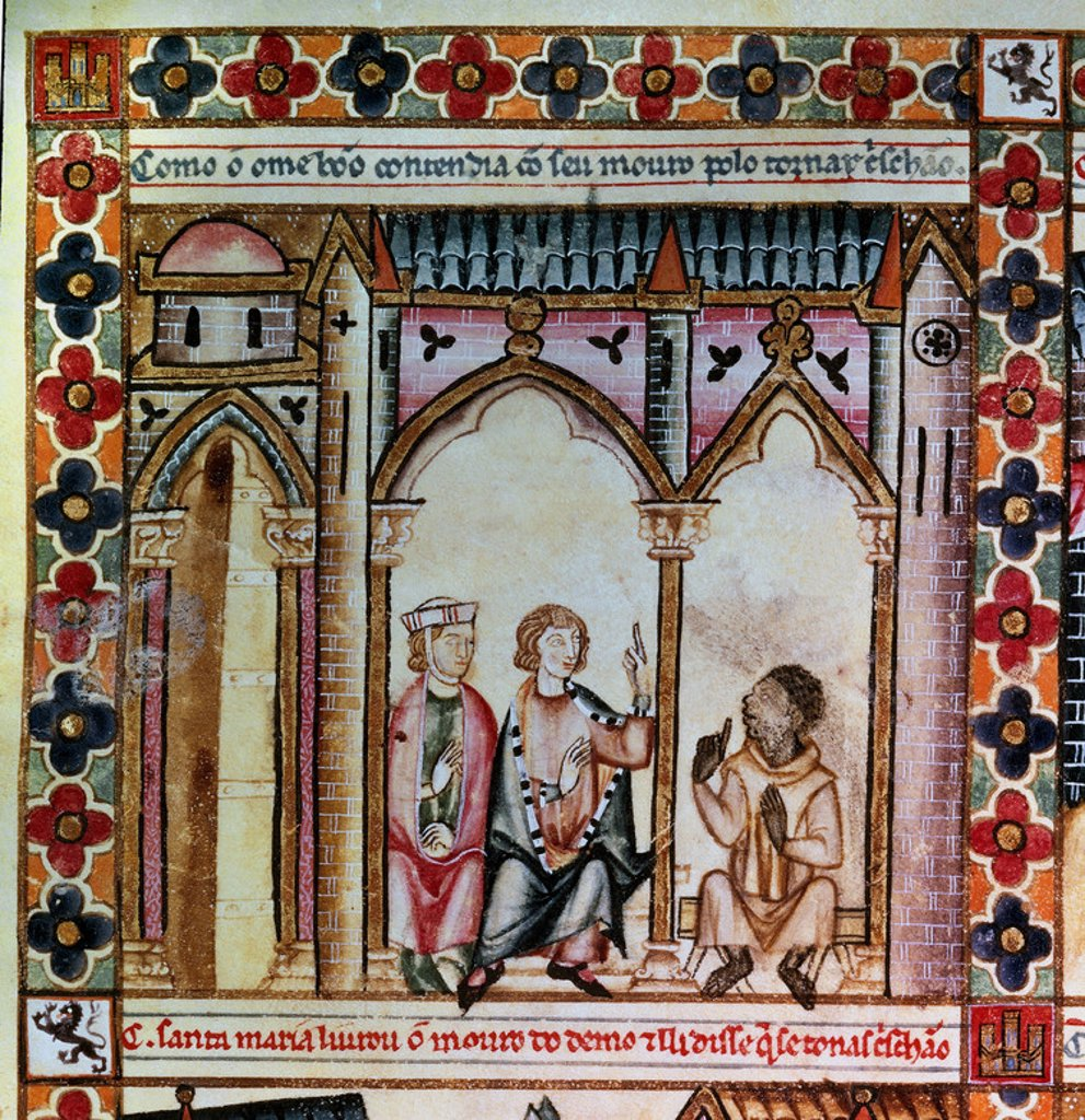 Stock Photo: 4409-4850 Spanish school. The Cantigas de Santa Maria (manuscript with music notations): Argument between a Christian and a Moor. 13th century. Canticle n°192, folio 252 V. Madrid, San Lorenzo de El Escorial library. Author: ALFONSO X OF CASTILE, THE WISE. Location: MONASTERIO-BIBLIOTECA-COLECCION, SAN LORENZO DEL ESCORIAL, MADRID, SPAIN.