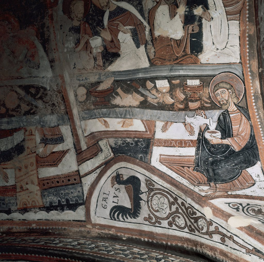 Romanesque Art. Spain. Fresco in the Royal Pantheon. Basilica of San Isidoro. 12th century. Leon. Castile and Leon. : Stock Photo