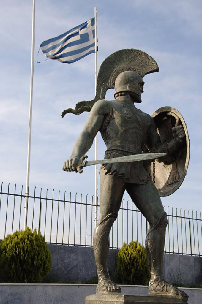 Stock Photo: 4409-48578 Leonidas I (died 480 BC). Also known as Leonidas the Brave was a Greek hero-king of Sparta, the 17th of the Agiad line King of Sparta[. Leonidas I is notable for his leadership at the Battle of Thermopylae. Monument de Leonidas erected in 1968. Sparta. Greece.