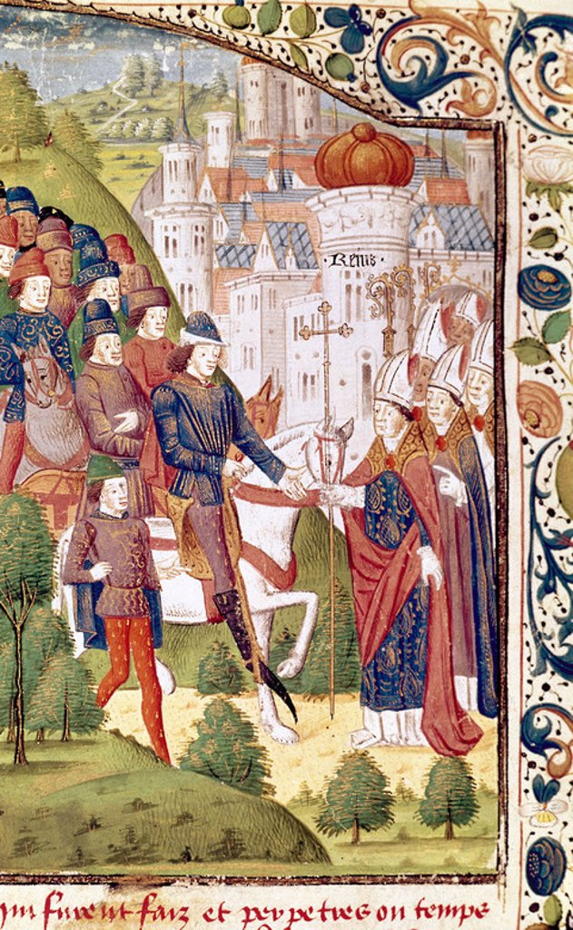 Stock Photo: 4409-48600 Charles VI (1368-1422), called the Beloved. King of France from 1380 to 1422, as a member of the House of Valois. Coronation in Reims. Chronicle of Jean Froissart. Conde Museum. Chantilly. France.