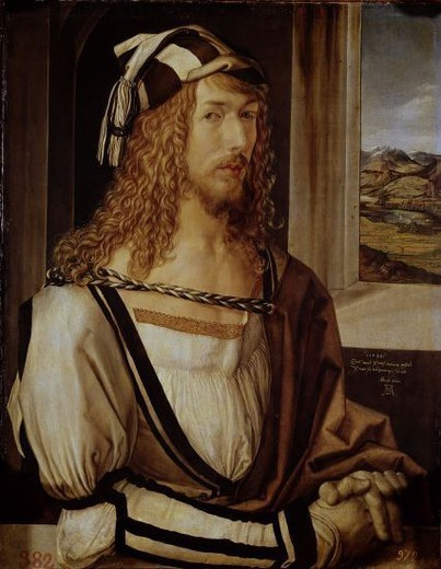 Stock Photo: 4409-4870 German scool. Self-portrait. Autorretrato. 1498. Oil on panel (52 x 41 cm). Madrid, El Prado. Author: DURER, ALBRECHT. Location: MUSEO DEL PRADO-PINTURA, MADRID, SPAIN.
