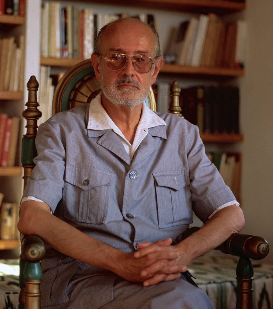 Stock Photo: 4409-48707 Josep Maria Llompart (1925-1993). Spanish writer. Llompart at his home in Deia (Majorca), 1981. Spain.