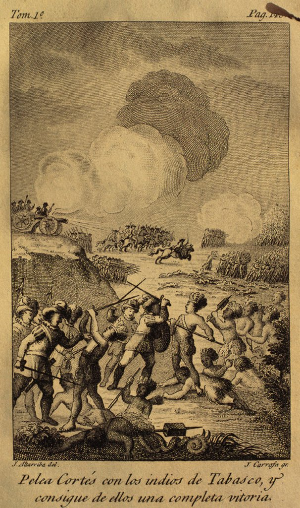 Battle between the troops of Cortes and the Indians of Tabasco, 1519. Volume I. Drawing by J. Altarriba and engraved by J. Carrafa, 1825. : Stock Photo