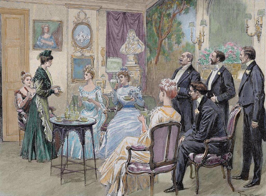 Stock Photo: 4409-48809 Meeting of aristocratic families in the living room. Colored engraving by George Scott, 1892.