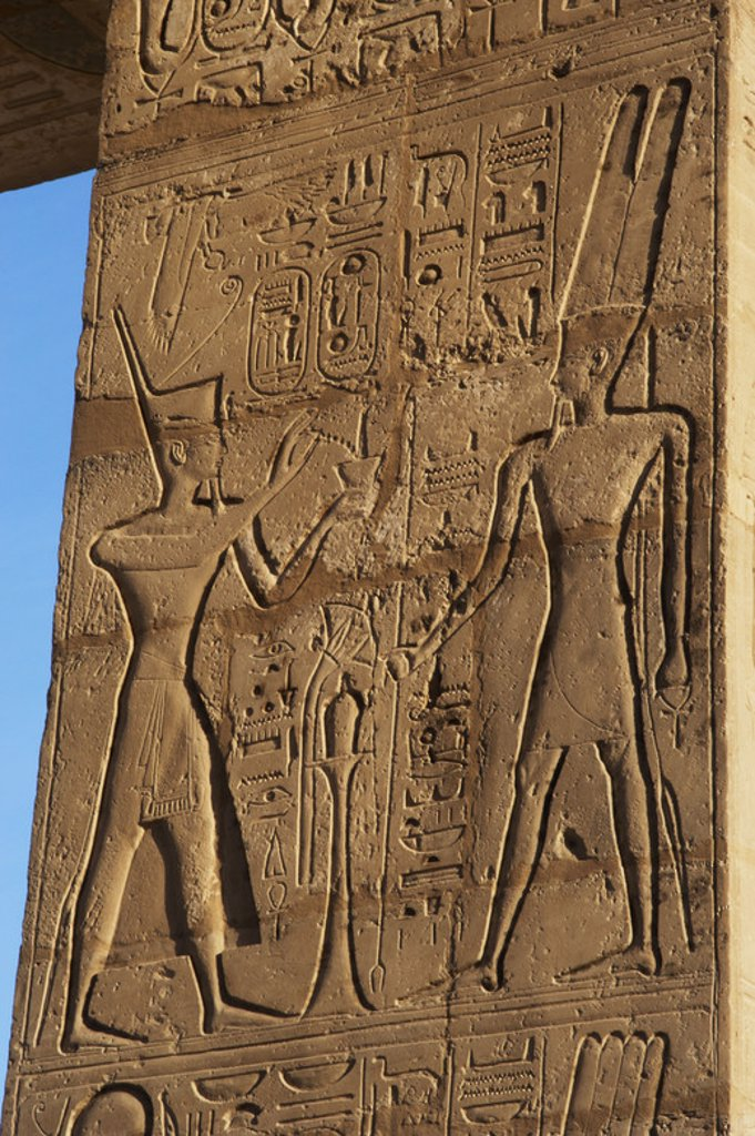 Stock Photo: 4409-49063 Relief depicting a Pharaoh making offerings to the god Amun. Ramesseum. 13th century. Nineteen dynasty. New Kingdom. Necropolis of Thebes. Valley of the kings. Egypt.