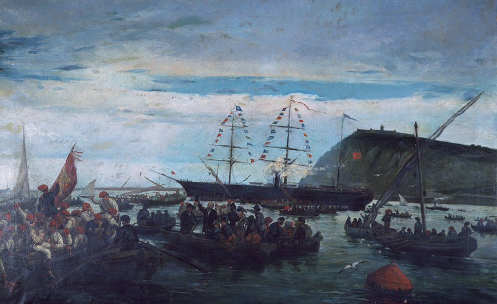 History of Cuba. Ten Years War or Great War (1868-1878). The Embarkation of the Catalan Volunteers for the Cuban War in the Port of Barcelona, 1870. Painting by Ramon Padro Pijoan (1809-1876). Maritime Museum. Barcelona. Spain. : Stock Photo