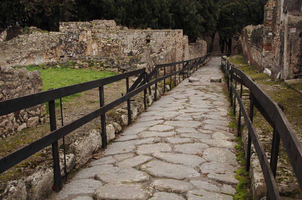 Stock Photo: 4409-49166 ARTE ROMANO. ITALIA. POMPEYA. Ciudad romana situada a los pies del Vesubio, destruída en el año 79 por la erupción del volcán. Vista de una calle.