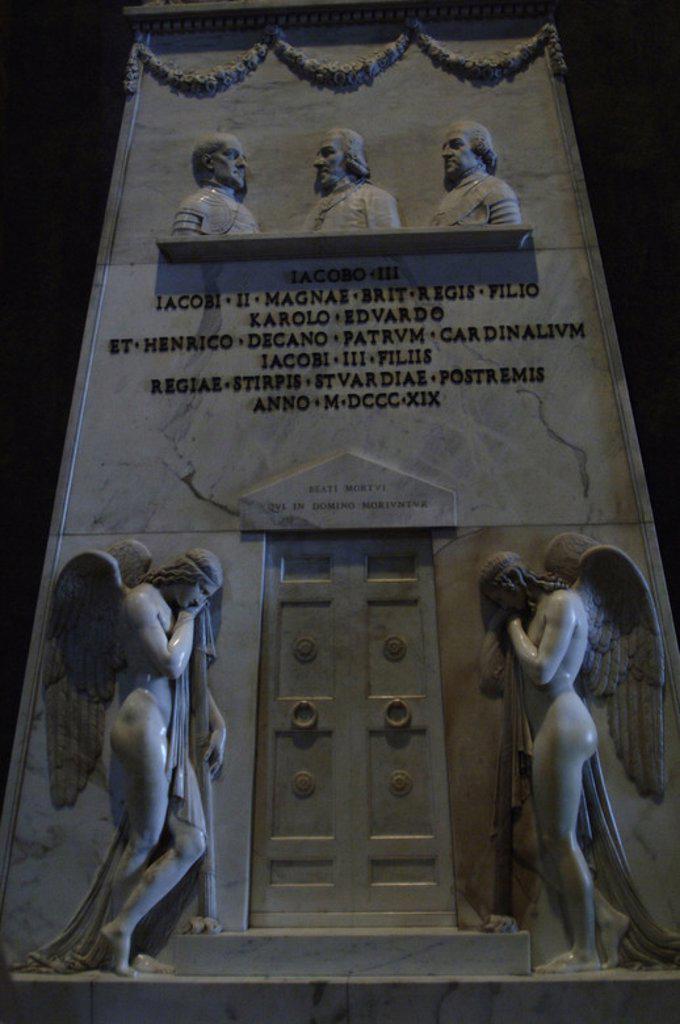"""Stock Photo: 4409-49172 ARTE SIGLO XIX. ITALIA. ANTONIO CANOVA (1757-1822). Escultor italiano neoclasicista. """"CENOTAFIO DE LOS ESTUARDO"""" (1817-1819). Mármol. Basílica de San Pedro. Ciudad del Vaticano."""