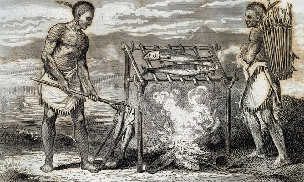 Stock Photo: 4409-49180 Native of North America. Ponca Indians roasting fish. French engraving, 1844.