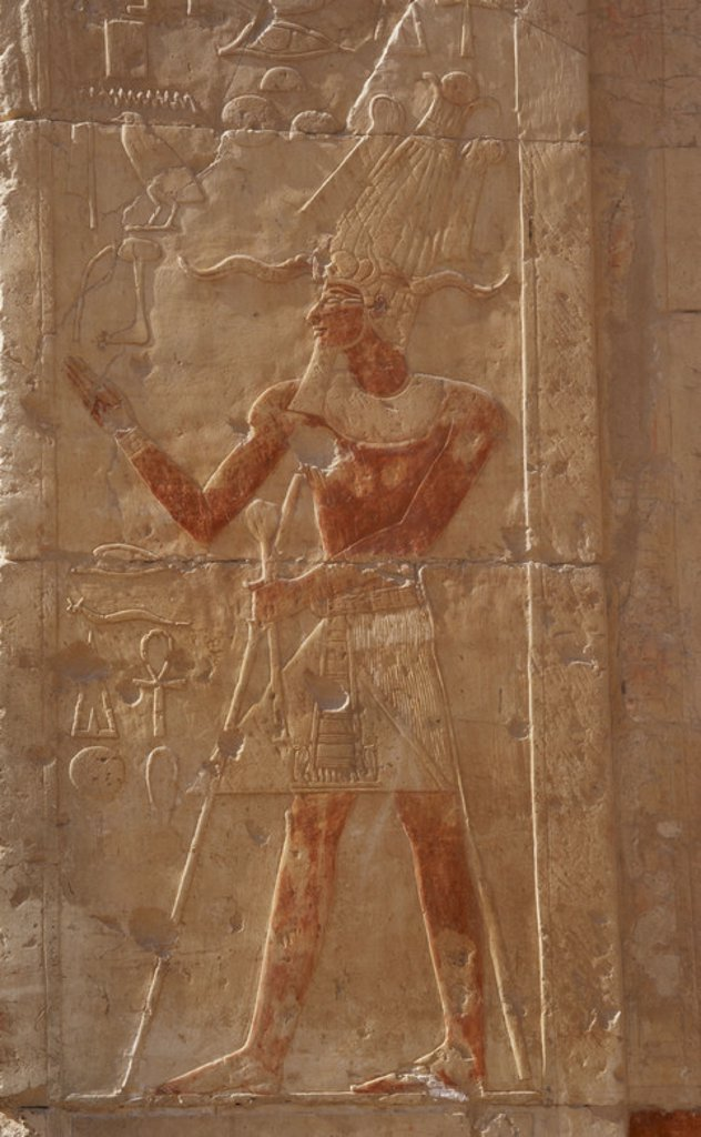 Stock Photo: 4409-49285 Relief with polychrome remains depicting a pharaoh with the false beard and Atef crown, an attribute that helps to revive the deceased. Temple of Hatshepsut. New Kingdom. Eighteenth Dynasty. Deir el-Bahari. Egypt.