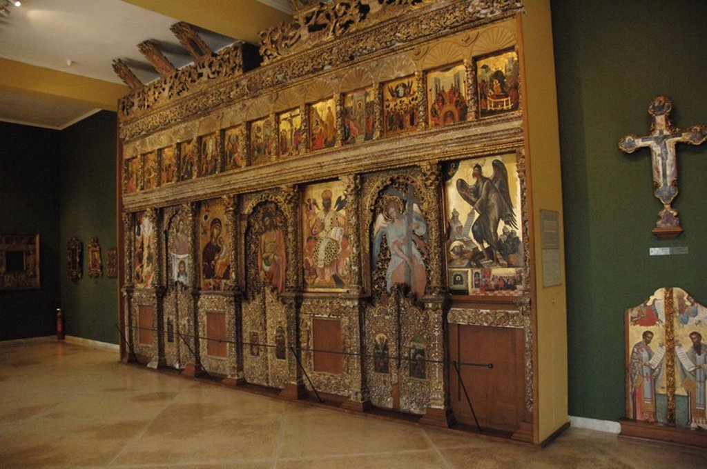Byzantine Art. Greece. Wooden iconostasis by Angelos Masketis, from the church of Pantocrator, 1683. Byzantine Museum. Zante. Greece. : Stock Photo