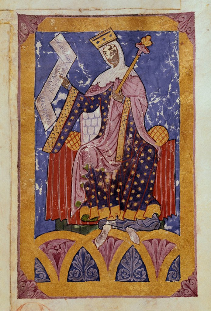 Urraca, Queen of Castile and Leon (1109-1126), daughter and heir of Alphonse VI. Tumbo A, folio 31. Cathedral Library of Coruna, Santiago de Compostella. Location: CATEDRAL-BIBLIOTECA, SANTIAGO DE COMPOSTELA, CORUÑA. : Stock Photo