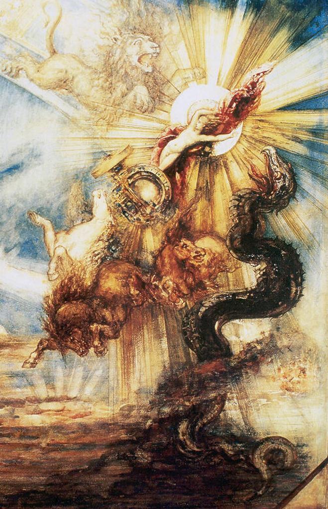 Stock Photo: 4409-49309 FAETON o FAETONTE. Hijo del Sol y de la oceánida Clímene. Reclamó a su padre el derecho a conducir el Carro del Sol, pero Zeus lo fulminó con un rayo para evitar un cataclismo universal. Representación de la CAIDA DE FAETON DEL CARRO DEL SOL, obra de Gustavo MOREAU (1878). Museo del Louvre. PARIS. Francia.