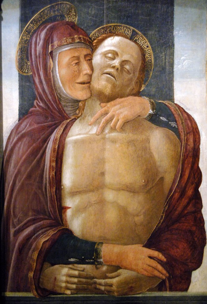 MONTAGNANA, Jacopo da (1440-/43-1499). Italian painter. MADONNA AND DEAD CHRIST. Tempera on wood. Museum of Fine Arts. Budapest. Hungary. : Stock Photo