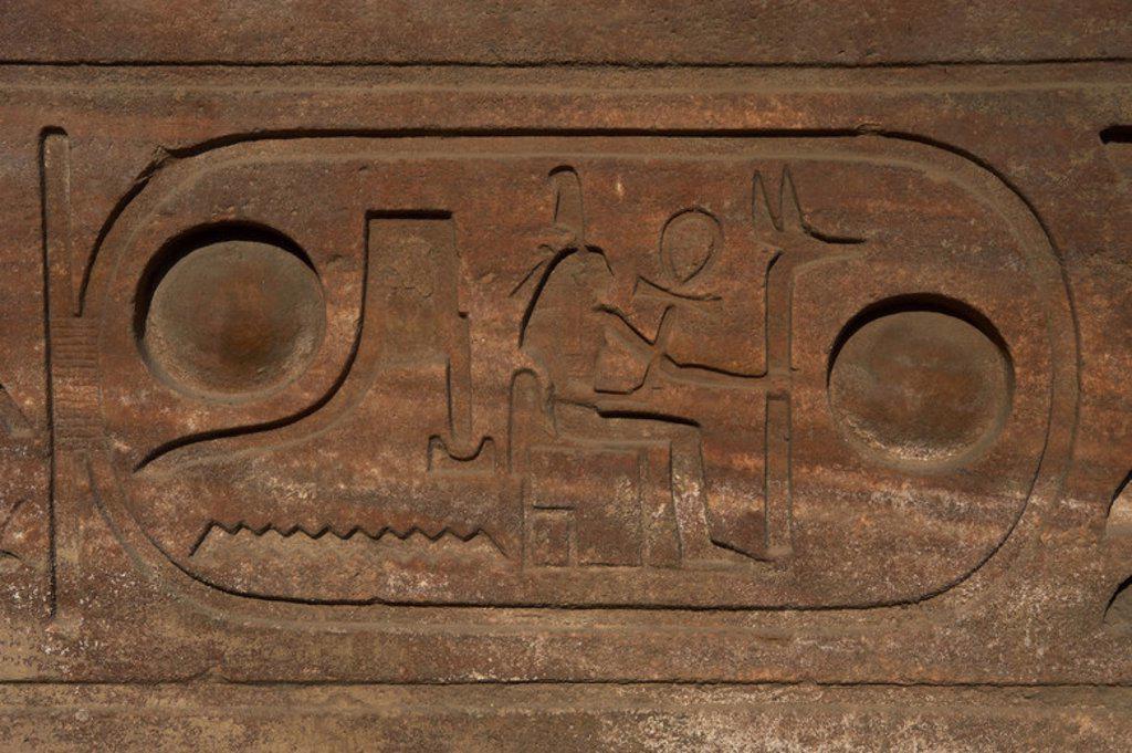 Stock Photo: 4409-49331 Hieroglyphic writing. Cartridge wirh the royal protocol of Ramses II.  Obelisk of Ramses II. Temple of Luxor.  Dynasty XIX  (1320-1200 B.C.). New Empire. Egypt.
