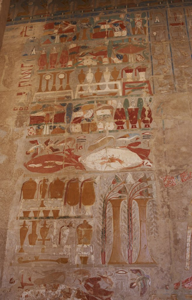 Stock Photo: 4409-49355 Relief depicting offering table. Temple of Hatshepsut. Deir el-Bahari. 18th Dynasty. New Kingdom. Egypt.