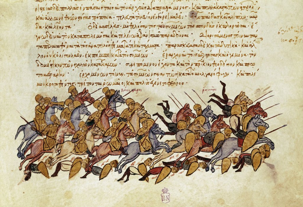 Stock Photo: 4409-5047 Madrid Skylitzes: Battle of Bulgarophygon. Madrid, Biblioteca Nacional de España. Author: SKYLITZES JOHN O SCYLITZA IOANNES. Location: BIBLIOTECA NACIONAL-COLECCION, MADRID, SPAIN.