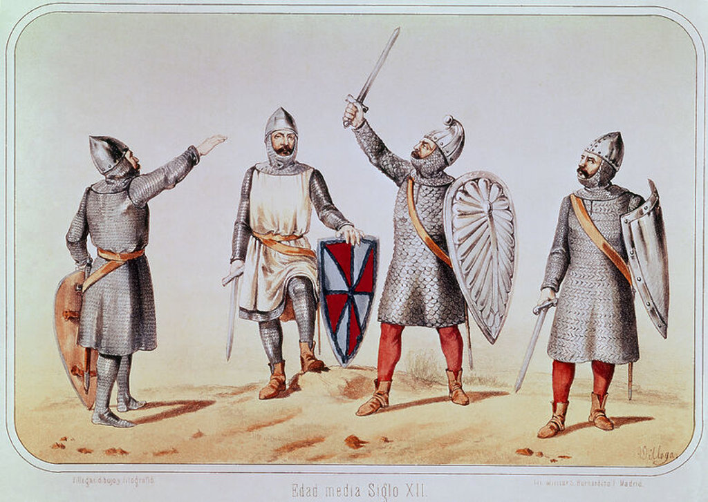Stock Photo: 4409-5069 Medieval Infantry Soldiers. Madrid, Military Historical Archives. Author: VILLEGAS. Location: ARCHIVO HISTORICO MILITAR, MADRID, SPAIN.