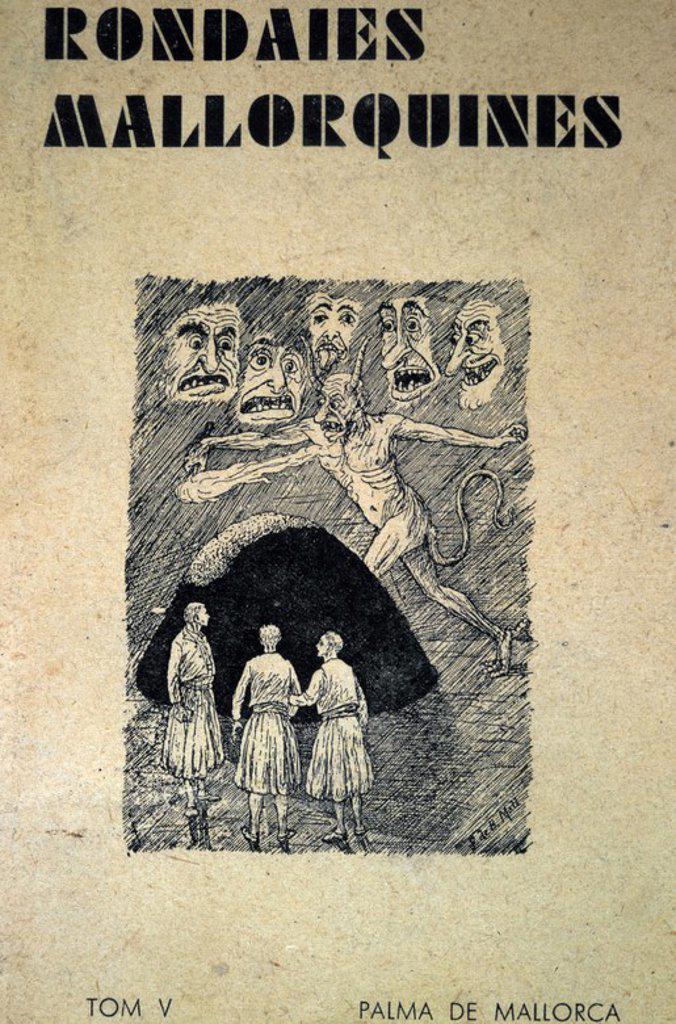 Cubierta de la obra 'Rondaies Mallorquines' de Jordi Des Recó (Mossen Antoni Mª Alcover. Dibujos Francesc de B. Moll. Palma de Mallorca. Imp. Mossén Alcocer, año 1941. : Stock Photo