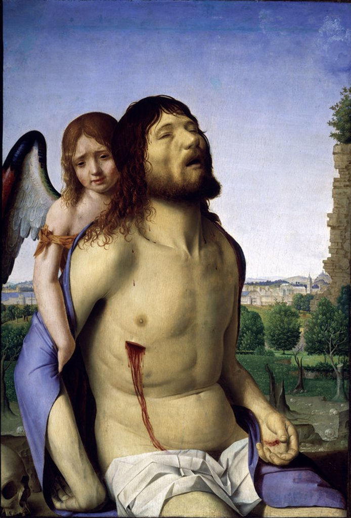 Stock Photo: 4409-5148 CRISTO MUERTO SOSTENIDO POR UN ANGEL - 1476/1479 - O/T - 74x51 - NP 3092 - RENACIMIENTO ITALIANO. Author: MESSINA ANTONELLO DE. Location: MUSEO DEL PRADO-PINTURA, MADRID, SPAIN.