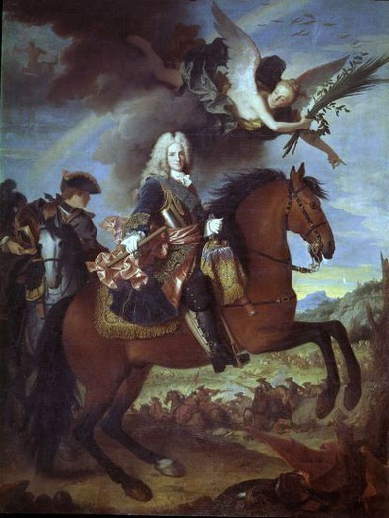 Stock Photo: 4409-5250 French school. Philip V of Spain on horseback. Felipe V a caballo. 1720. Oil on canvas (335 x 270 cm). Madrid, El Prado. Author: RANC, JEAN. Location: MUSEO DEL PRADO-PINTURA, MADRID, SPAIN.