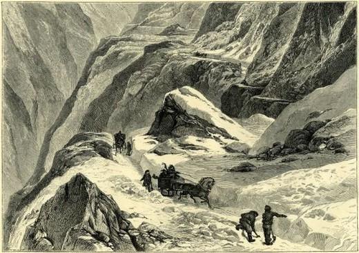 CROSSING AN ALPINE PASS IN WINTER, Switzerland. : Stock Photo