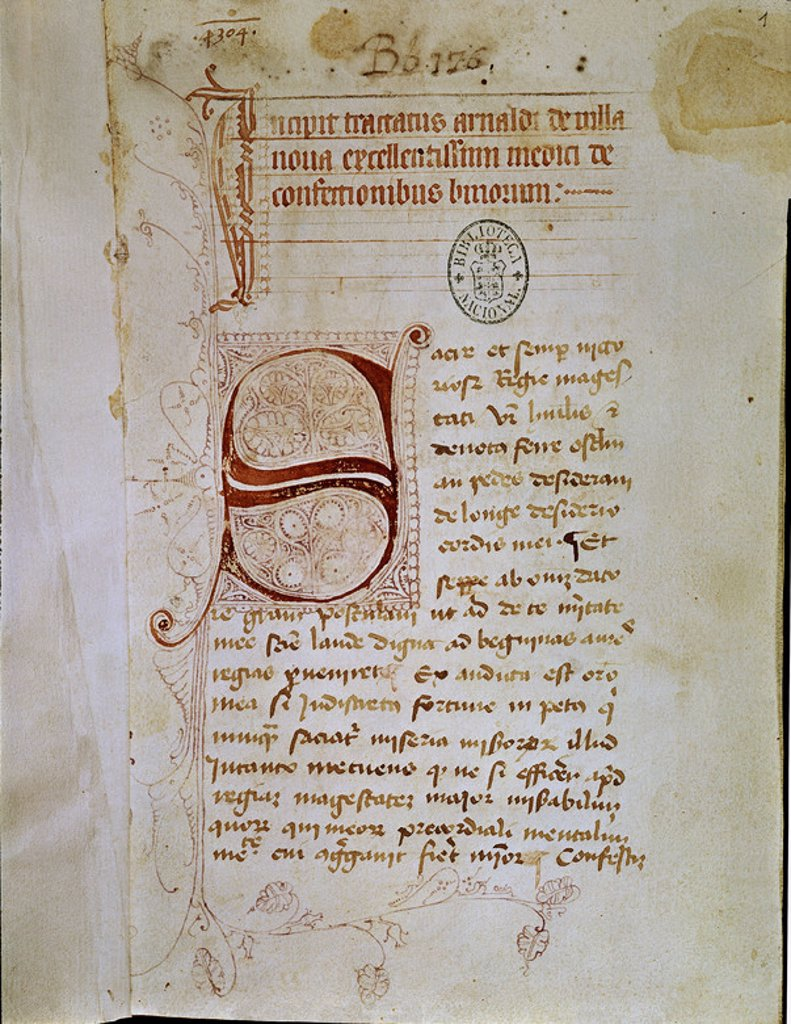Stock Photo: 4409-5283 MS 9510 MANUSCRITO CON LETRA CAPITULAR. Author: ARNAU VILANOVA. Location: BIBLIOTECA NACIONAL-COLECCION, MADRID, SPAIN.