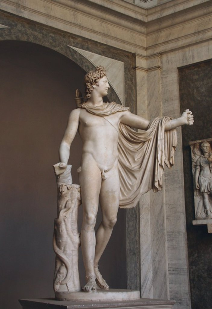 Stock Photo: 4409-53458 Greek Art. Apollo Belvedere. Ca. 120-140. Roman copy of Greek bronze original of ca. 350-325 BC. Marble. Attributed to Leochares. Vatican Museums. Rome. Italy.