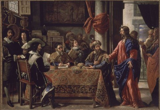 Stock Photo: 4409-5350 Spanish school. The calling of saint Matthew . La vocación de San Mateo . Madrid, El Prado. Location: MUSEO DEL PRADO-PINTURA, MADRID, SPAIN.