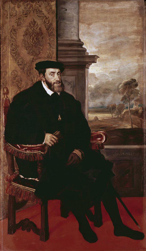 Stock Photo: 4409-5355 Portrait of Charles V in 1548. Munich, Altepinakothek (Old Art Gallery). Author: TITIAN. Location: ALTE PINAKOTHEK, MUNICH, DEUTSCHLAND.